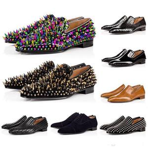 Nueva caliente para hombre inferior rojo Diente de león Spikes Designer Shoes Greggo Orlato planas zapatos de charol Negro zapatos Sude Terciopelo del holgazán de moda para fiestas