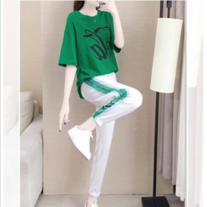 2020 new girl suit T-shirt and trousers two-piece set Elegant green sports casual wear Printing and party style free shipping