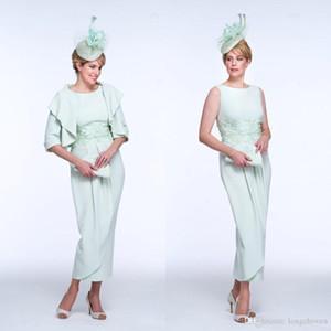 Gelin Elbise İki Adet Suit Jewel Kolsuz Boncuk AYDINLATMA Saten Abiye Ayak bileği Boyu Anneler Elbiseler Of 2020 Renkli Anne