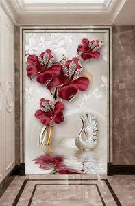 Özel 3D fotoğraf duvar atmosfer güzel orkide takı çiçek su desen duvar duvar resimleri duvar kağıdı büyük ölçekli