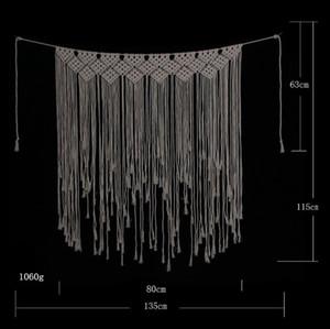 Decorazioni di cerimonia nuziale Macrame tessuto parete appeso corda del cotone Macrame Arazzi Handmade di cerimonia nuziale del contesto BohoHome Decor FreeWZW-YW3667