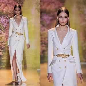 2020 New Trend Runway Weiße Split Lange Abendkleider Qualitäts-Sleeves Sexy V-Ausschnitt formales Abschlussball-Partei-Kleid mit goldenen Gürteln