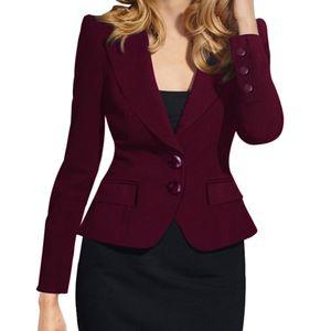 Feitong Mesdames Blazer Costume Collier Solid Slim Fit à manches longues simple boutonnage Blazers petites femmes et vestes blazer Feminino