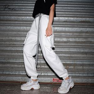 Prowow Yeni Moda Stil Kadınlar Gevşek Casual Kargo Pantolon Katı Beyaz Kadın Pantolon Bayan Rahat Sweatpants Kadın Giyim