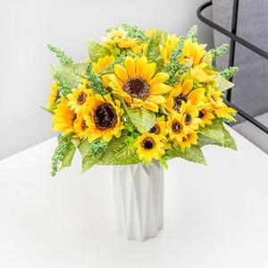 Искусственный подсолнечника Искусственные цветы Шелковый Sunflower для декора дома партии Декор сада отеля Свадебные украшения поддельные цветок Crafts EEA1588