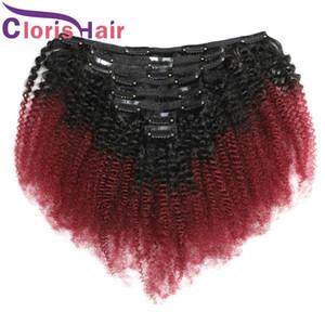 Gruesa cabeza completa 8pcs 120g / set india afro rizado rizado extensiones 1B / 99J Ombre pelo humano clip Ins color borgoña clip en extensiones