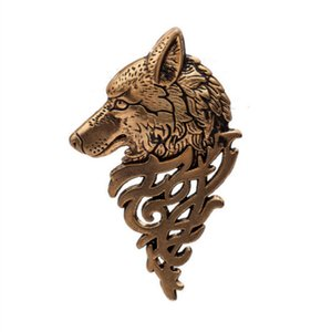 남성 높은 품질에 대한 새로운 늑대 헤드 브로치 핀 칼라 배지 Brosh 핀 동물 험 브레 정장 옷깃 핀 Brosche