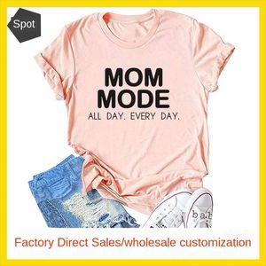 MOM MODE ALL EVERY 레이디 편지 짧은 소매 티셔츠 MOM 모드 ALL DAY EVERY DAY 레이디 편지 짧은 소매 티셔츠