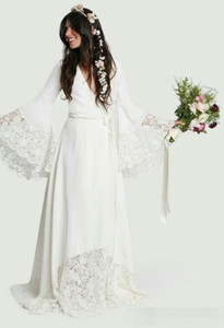 2019 Bohomian Beach Wedding Dresses Sexy Deep V Neck with Long Poet Sleeves Lace Sash Ruched Plus Size Wedding Bridal Gowns