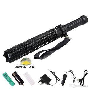T6 светодиодный фонарик Mace Самооборона Зубчатые Mace 4500LM факелов 5 Режим Открытый Patrol Аккумуляторные фонари