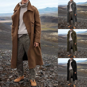 Sobretudo Marca Long Business Blends Jacket homens Vintage Autumn Men Classic Sólidos Brasão Cor Longo Trench Streetwear 2020