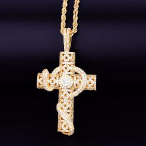 Ciondolo a forma di croce con serpente animale con collana a catena in corda Colore oro Bling Zirconia cubica Per uomo Donna Gioielli hip-hop Rock