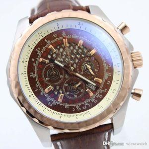 49 мм Диаметр корпуса специальный большой кофе циферблат мужские часы секундомер точный кварцевый механизм мужские часы Наручные часы