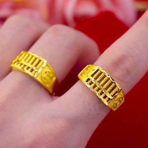 Herren Eröffnungsgeld Abakus Ring Vietnam Shajin Imitation Gold Mode Herrenring