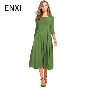 Enxi Solid Maternity Dresses Plus Size Pregnant Dress Spring Pregnancy Middle Dress Gravida Clothes For Pregnant Women Y190522