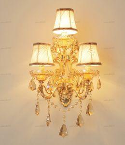 European crystal wall lamp bedroom bedside wall villa complex corridor corridor zinc alloy wall lamp LLFA
