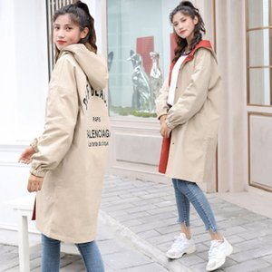 femmes vestes de designer 2019 Mode Femmes Trench-Coat Plus La Taille Sweat À Capuche Coupe-Vent Poches Bouton Léger Manteau Filles Manteau Deux porter
