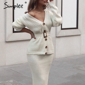Simplee women knitted sweater dress Elegant autumn winter two pieces skirt suit White long sleeve female cardigan midi dresses