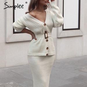 Simplee kadınlar örme kazak elbise Zarif sonbahar kış iki adet etek takım elbise Beyaz uzun kollu bayan hırka midi elbiseler