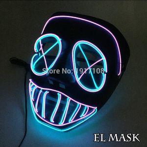 EL Nueva Máscara de Halloween Parpadeando El Wire Máscara Brillante Led Flexible Luz de Neón Para Baile Dj Bar Carnaval Fiesta Decoración