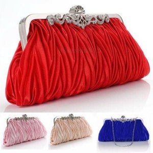 Women Lady Satin Crystal Bridal Handbag Clutch Party Wedding Purse Evening Bag Pleated Day Clutches Solid Ladies Handbags