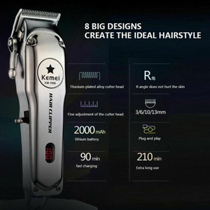 KM-1996 All-metal Professional Hair Clipper Electric Cordless Hair Trimmer Retributable Low-noise Clipper Remover