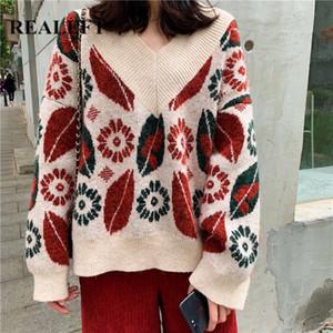 REALEFT automne hiver manches longues Vintage femmes Pull imprimé Pull Fashion Pull Casual tricotée 2019 Nouveau