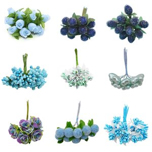 Blue Mixed Artificial Fake Flowers Cherry Stamen Berries Wedding Bride Bouquet DIY Wreaths Crafts Christmas Gift Decor Supplies