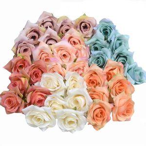 Fleur artificielle soie Rose Head fête de mariage Décoration bricolage Couronne Scrapbook Artisanat Faux Rose Fleur