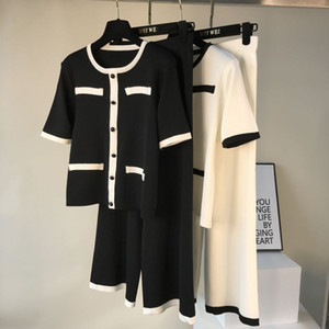 Amolapha femmes Boutons Hauts Pantalons loose à manches courtes en tricot Sets unique poitrine overs Pantalon large pour femme Costumes