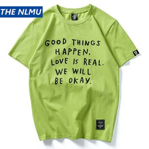 Cheap T-Shirts Hip Hop Streetwear Letter Print Tshirt Men Summer Tops Tees Casual Short Sleeve Cotton Green T-shirts Male HH51