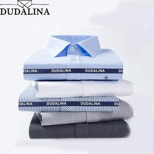 DUDALINA 2019 Männer Casual Langarm Feste Hemd Slim Fit Männliche Social Business Hemdtasche Männer Kleidung Gestreift