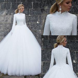 2020 Une ligne modeste robes de mariée en dentelle à col robes à manches longues en tulle de mariée Vintage Robes de mariée Robe de mariée
