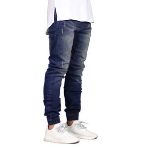 Mode Hommes Jogger Jeans Printemps automne haute qualité slim Jeans délavés mens High street hip hop couleur unie Beam foot Denim pant