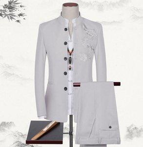 Frete grátis! Moda masculina túnica chinesa terno 3 peças homens gola casual terno tang jacket Made Mens ternos (jaquetas + t-shirt + calça)