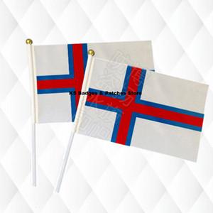 Faröer Inseln Hand Stick Tuch Fahnen Sicherheit Ball Top Hand Nationalflaggen 14 * 21 CM 10 stücke viel