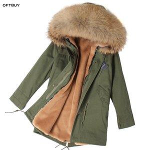 OFTBUY 2019 Kış Ceket Kadınlar Gerçek Kürk Parka rakun kürk yaka sahte astar asker yeşili uzun ceket Streetwear moda