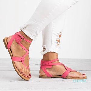New Knitting Filp Flops Rome Flat Sandals Big Size Women Sandals 2018 Wholesale European Sale and Popular ct2