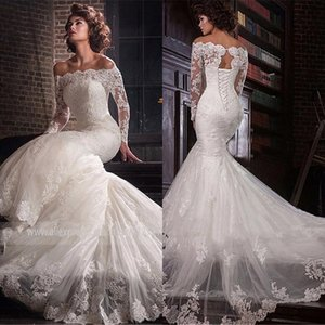 Vestido De Noiva 2020 Champagne Muslim Wedding Dress Ball Gown V-Neck Long Sleeve White Lace Tulle Dubai Arabic Wedding Gowns
