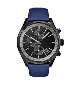 2019 homens de grande prêmio Black Dial Watch Banda de couro dos homens 44 milímetros de couro azul Banda IP Steel Case Quartz Watch- 1513563