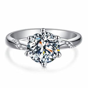 Classic Six Klaue Gold-Farben-justierbare Ring 3A Österreich Kristallehering für Braut Weihnachtsgeschenk für Frauen-Schmucksachen Verlobungsringe