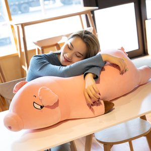 cute lying pig plush toy giant fat piggy doll super soft sleeping pillow for girl birthday gift decoration 43inch 110cm DY50865