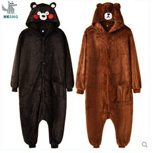 HKSNG Kigurumi медведь Onesies мультфильм фланель Браун животные взрослые кумамон Хэллоуин Пижама Косплей костюмы Комбинезоны T200111