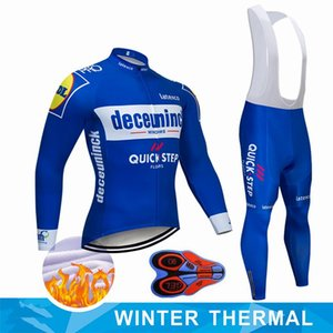 Pro Team QUICK STEP Cycling Jersey 9D Bib Set Belgium Bike Clothing Mens Winter Thermal Fleece Bicycle Clothes Cycling Wear