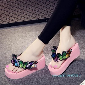 beauty Flower Sandals Garden Shoes Handmade Butterfly Slippers Hawaiian Beach Sandals Summer Women Flip Flops c25