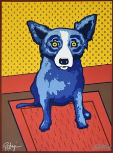a128# George Rodrigue Blue Dog Bear Walls Home Decor Handpainted &HD Print Oil Painting On Canvas Wall Art Canvas Pictures 200117
