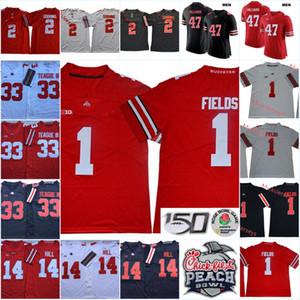 Mens Staat Ohio-Rosskastanien Justin Hilliard Fußball-Jersey-nähte 33 Meister Teague III # 14 K. J. Hill Ohio State Buckeyes Jersey S-3XL