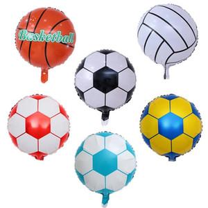 Doğum günü partisi için 18 İnç Futbol Alüminyum Folyo Balon Futbol Basketbol Helyum Balonlar Dekorasyon Çocuk Oyuncak Yana