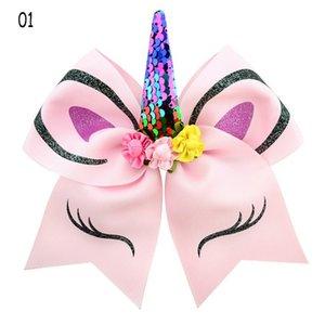 Luxe Enfants Bandeaux Explosion Fashion Unicorn cheveux clip Designer Filles Horns bronzante flip Paillettes Bow cheveux Accessoires 2020 Nouveau