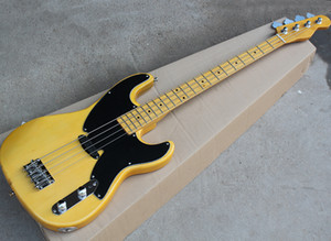 Transparent Yellow Alder 4 Strings Electric T Bass with Black Pickguard,Yellow Maple Neck,Can be Customized As Request